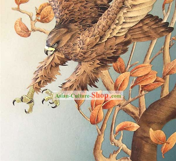 Chinese Classic Large Hand Carved Wood House Solid Decorative Painting-Hawk in the Wind