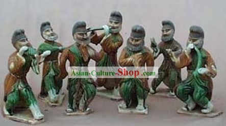 Chinese Classic Archaized Tang San Cai Statue-Group of Hu Musicians (Seven Pieces Set)