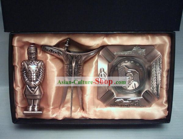 Marvellous China Terra Cotta Warrior Gift Set(three pieces set)