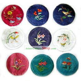 Chinese Classic Hand Made Embroidery Teacup Tray (9 pieces set)