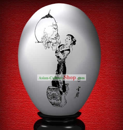 Chinese Wonder Hand Painted Colorful Egg-Xue Yan of The Dream of Red Chamber