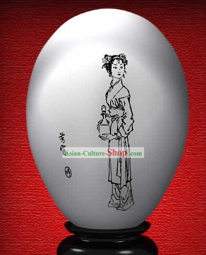 Chinese Wonder Hand Painted Colorful Egg-Fang Guan of The Dream of Red Chamber