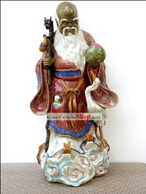Hand Made Shi Wan Ceramics Statue-Bless Healthy