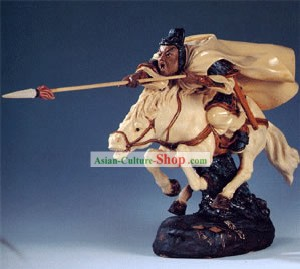 Hand Made Chinese Shi Wan Ceramics Statue-Ancient Brave General:Ma Chao