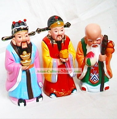 Beijing Hand Made Clay Figurine-Luck,Health and Richness Fairies(three Pieces Set)