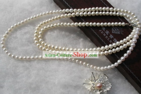 Natural Long White Pearl Necklace