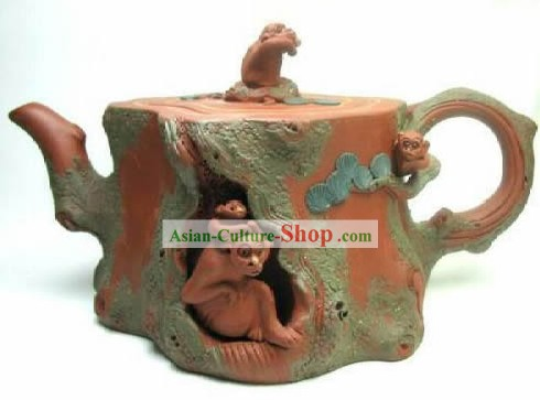 Chinese Classic Hand Made Zisha Teapot-Moneky