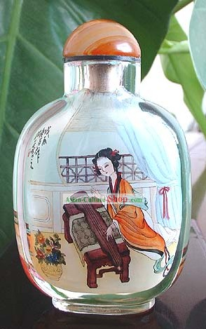 Snuff Bottles With Inside Painting Characters Series-Chinese Ancient Beauty Playing Zither