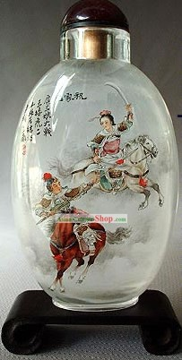 Snuff Bottles With Inside Painting Characters Series-Woman Heroe Hua Mulan