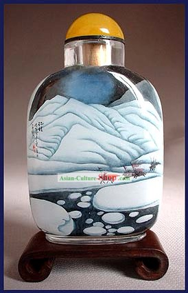 Snuff Bottles With Inside Painting Landscape Series-Cross the Snowy Mountain