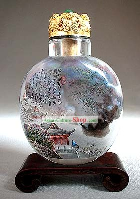 Snuff Bottles With Inside Painting Landscape Series-Poet Inside the Mountain