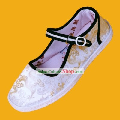 Chinese Traditional Hand Made Folk Dragon White Cloth Shoes for Man 1