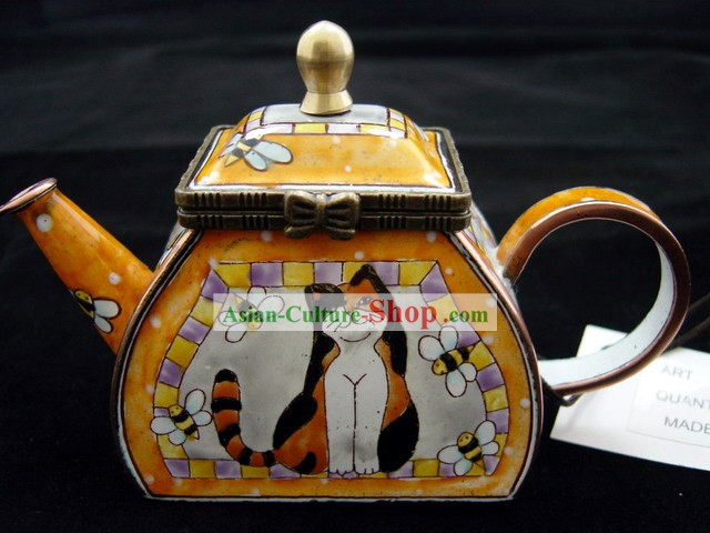 Chinese Hand Painted Enamel Craft-Cat Playing with Bee