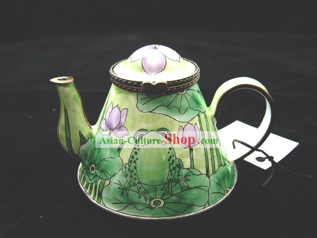 Chinese Hand Painted Enamel Kettle-Lotus and Frog