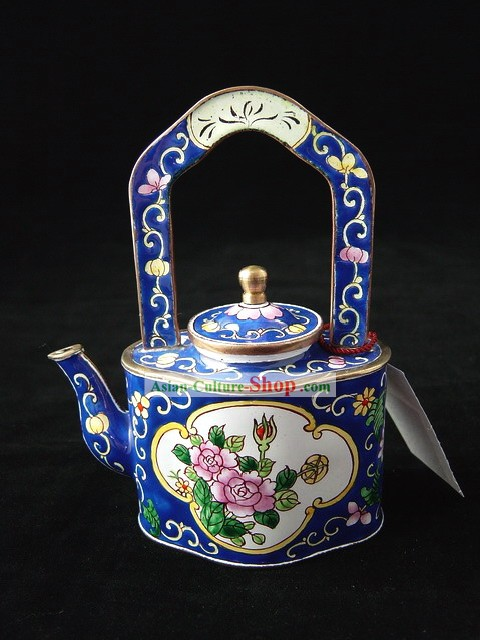 Chinese Traditional Hand Painted Enamel Lifting Kettle-Lotus Beauty