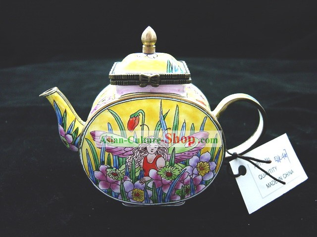 Chinese Hand Painted Enamel Kettle-Butterfly Angel