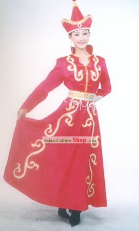 Mongolian Classic Lucky Red Costume for Woman