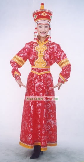 Mongolian Folk Dancing Costumes and Hat for Woman