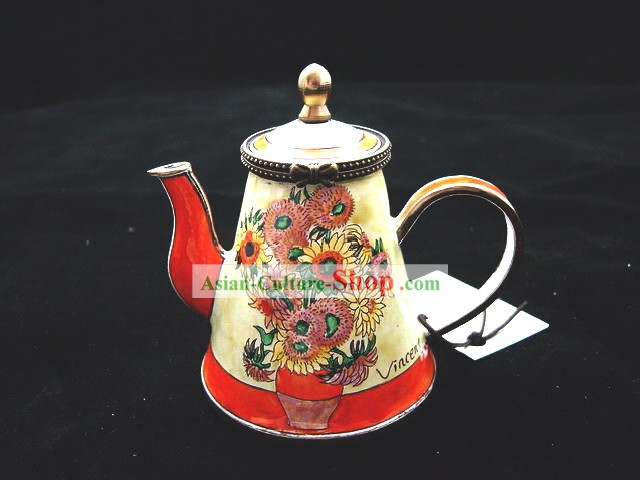 Chinese Classic Hand Painted Enamel Kettle-Sunflower