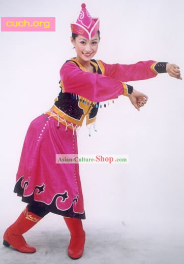 Mongolian Folk Dancing Costume and Hat for Woman