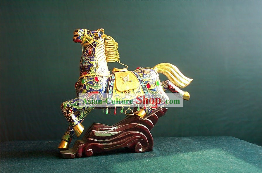 Chinese Gold Brass Cloisonne Galloping Horse (OUT OF STOCK)
