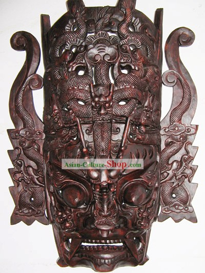 Chinese Classic Woodcarving Collectible-12 Dragons Mask