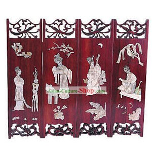 Chinese Stunning Ancient Beauties Folding Screen