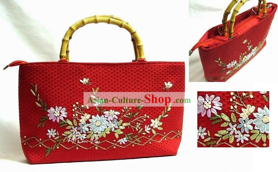 Chinese Hand Embroidery Rectangle Bamboo Handle Bag for Woman