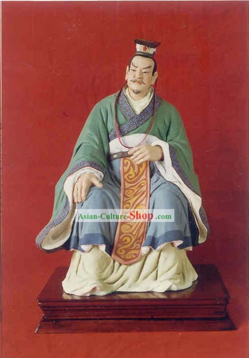China Hand Painted Sculpture Art of Clay Figurine Zhang-Ancient Emperor Zhou Ping