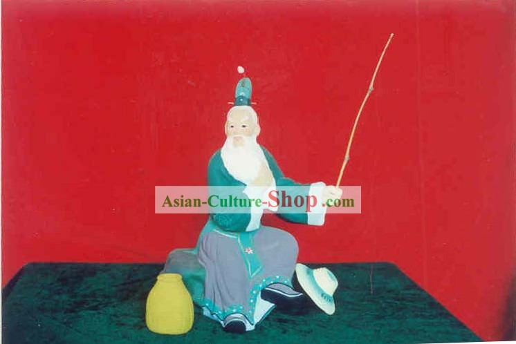 Chinese Hand Painted Sculpture Art of Clay Figurine Zhang-Fishing Old Man