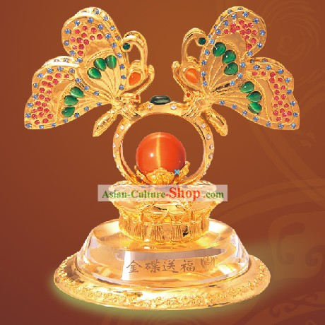 China Shinning Gold Bless Butterfly Statue