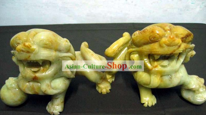 Chinese Classic Hand Carved Jade Lion King Pair