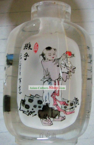 Chinese Classical Snuff Bottle With Inside Painting-Ancient Kid