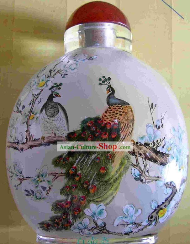Chinese Classical Snuff Bottle With Inside Painting-Birds and Flowers