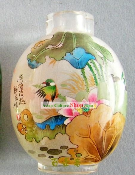 Chinese Classical Snuff Bottle With Inside Painting-Birds by Lotus