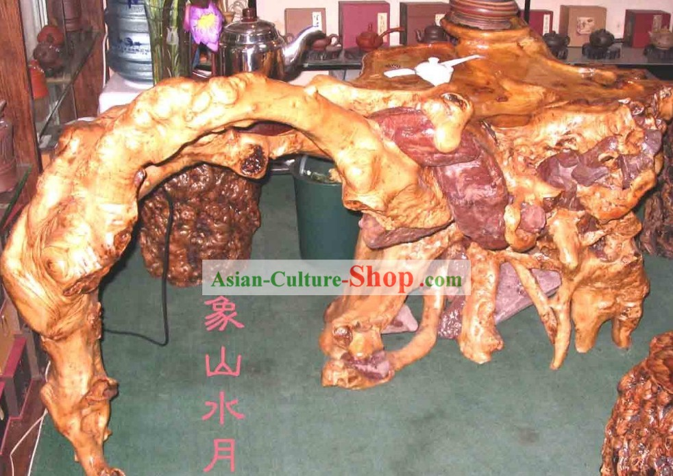 Chinese Stunning Hand Carved Tree Root Tea Table-Moon River