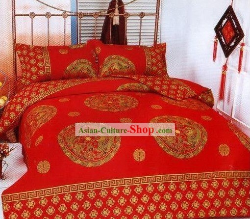 Chinese Stunning Cotton Wedding Bed Sheet Set(Four Pieces)-Dragon and Phoenix