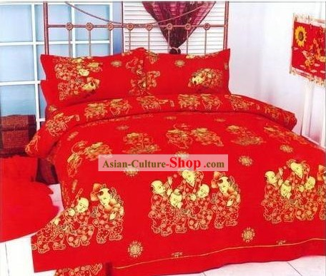 Chinese Classical Cotton Wedding Bed Sheet Set(Four Pieces)-More Children, More Happiness