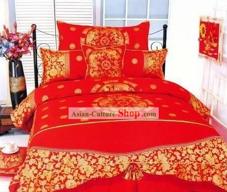 Chinese Traditional Cotton Wedding Bed Sheet Set(Four Pieces)-Dragon and Phoenix