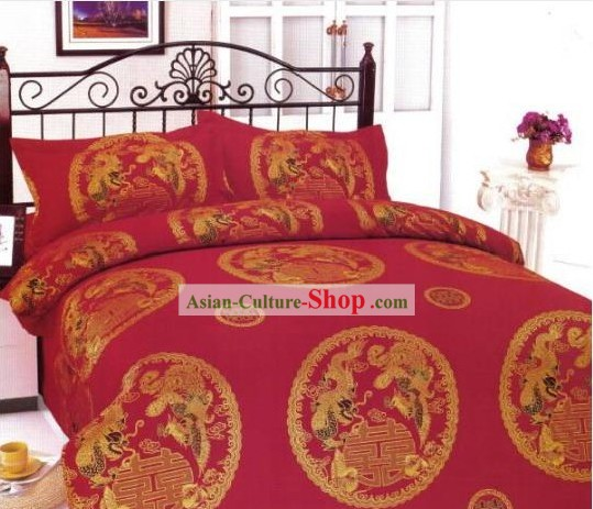 Chinese Classical Cotton Wedding Bed Sheet Set(Four Pieces)-Dragon and Phoenix
