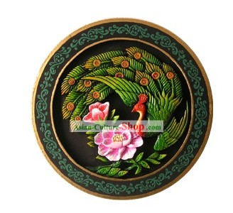 Chinese Hand Carved Healthy Active Carbon Round Plate-Peacock