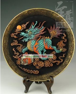 Chinese Hand Carved Healthy Active Carbon Round Plate-Kylin