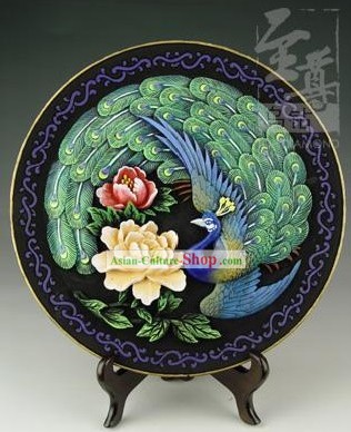 Chinese Hand Carved Healthy Active Carbon Large Round Plate-Peacock