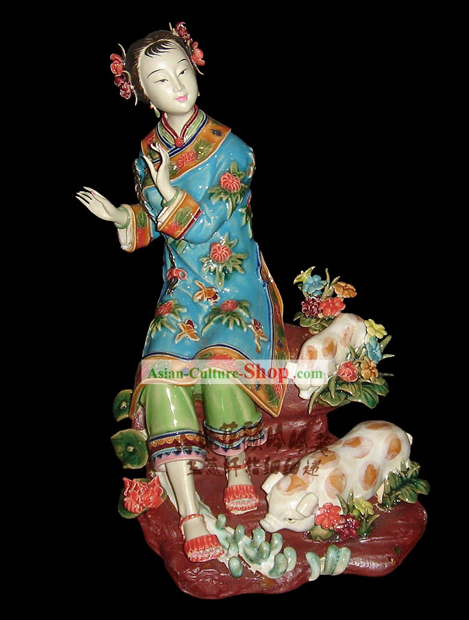 Chinese Stunning Porcelain Collectibles-Ancient Woman With Pigs