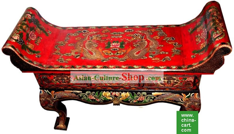 Chinese Coloured Drawing Dragons Three Drawers Large Table(Desk)