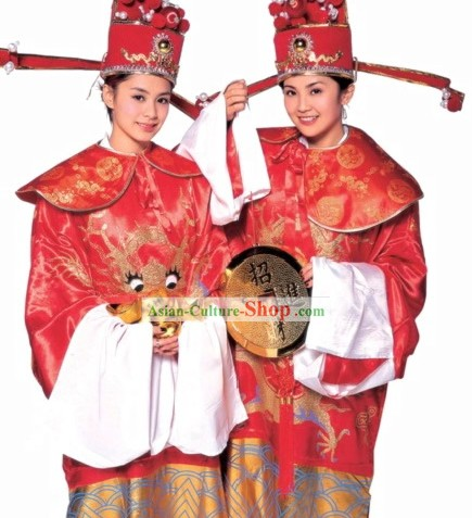 Traditional Chinese Cai Shen Money God Costume Complete Set