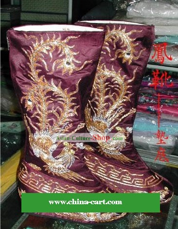 Chinese Ancient Phoenix Embroidery Boots for Men
