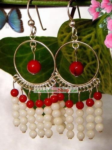 Indian Bohemia Fashion Coral Shell Earrings-Red and White Beauty