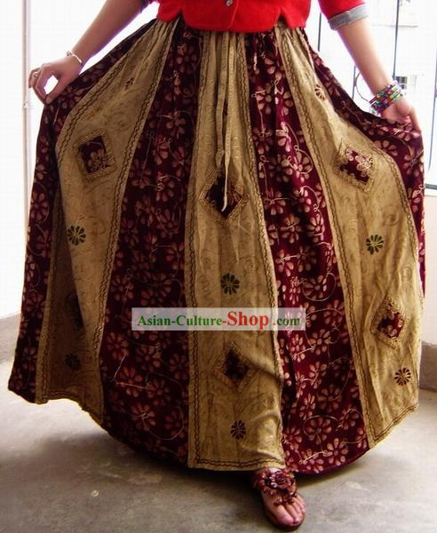 Indian Bohemia Folk Hand Embroidered Long Skirt