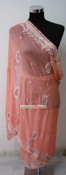 Indian Hand Embroidered Silk Long Cape